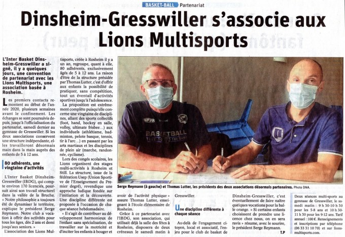 2020-08 DNA IDBG s'associe aux Lions Multisports